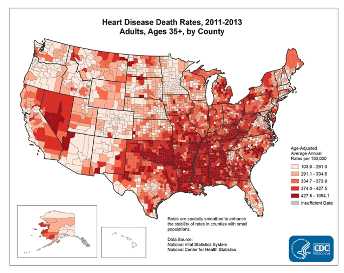 Heart Disease Death Rates 2011-2013